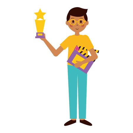 Hombre que sostiene el premio y la ilustración de vector de película de película de tablilla