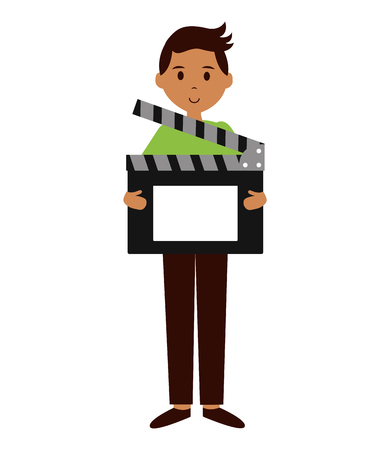 man film production clapboard movie vector illustration 스톡 콘텐츠 - 123039890