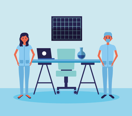 medical people staff professional in the office with test tube desk laptop vector illustration