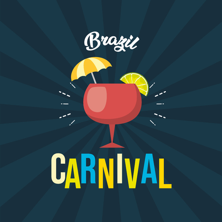 cocktail brazil carnival festival black background vector illustration Stock Illustratie