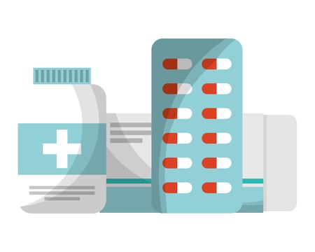 Ilustración de vector de botella de cápsula de embalaje de farmacia de medicina médica