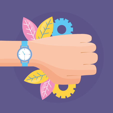 hand with wristwatch time design vector illustration
