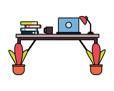 office desk laptop books workplace vector illustration