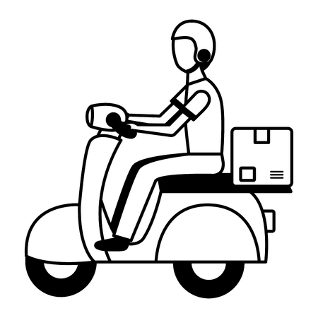 man in motrocycle fast delivery vector illustration Banque d'images - 123039944