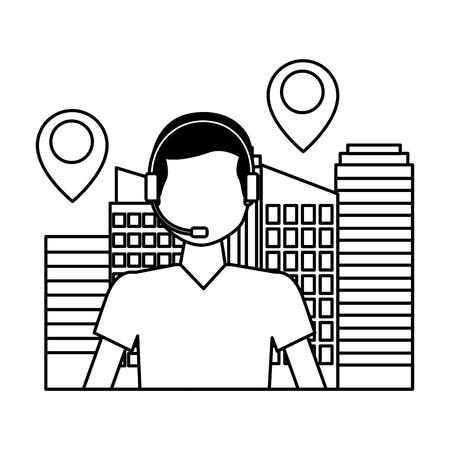 Betreiber Mann Stadt Standort Logistik schnelle Lieferung Vektor-Illustration