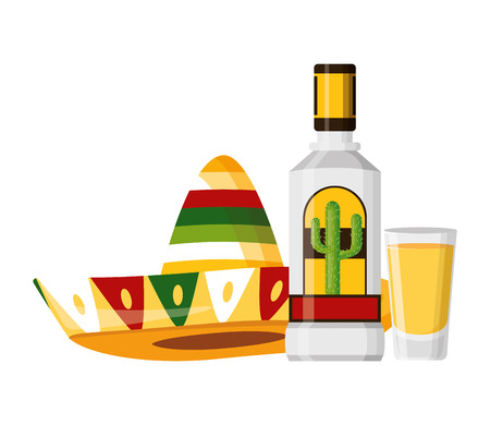 tequila shot hat mexico cinco de mayo vector illustration