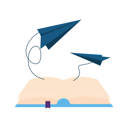 open book with paper plane icon vector illustration design