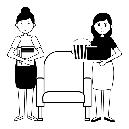 happy women seat snack food film movie vector illustration Ilustrace
