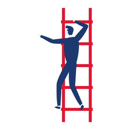 businessman climb ladders business success vector illustration 向量圖像
