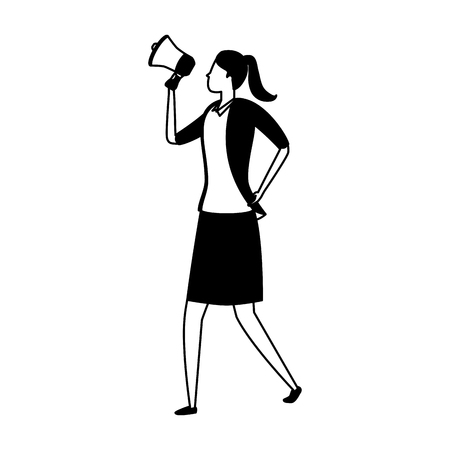 business woman character with speaker on white background vector illustration Ilustração