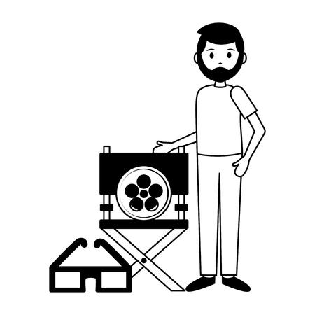 man chair director 3d glasses film movie vector illustration Illustration