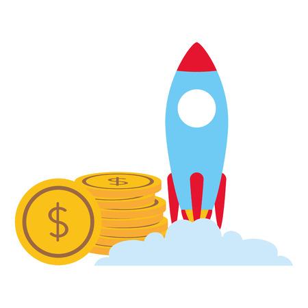 launching rocket money coins business vector illustration Stock Illustratie