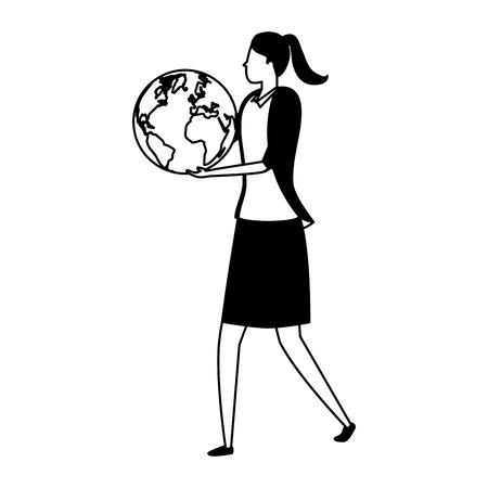 business woman character with world on white background vector illustration