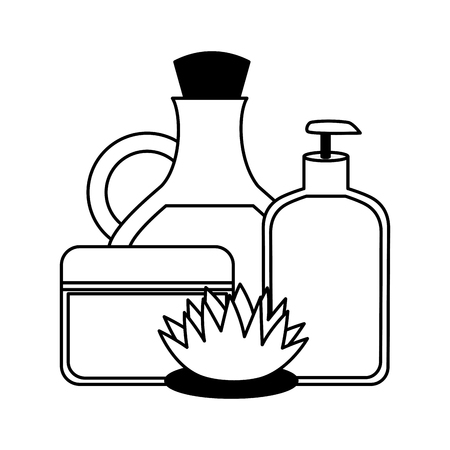 oil bottle gel cream flower spa therapy vector illustration 写真素材 - 123059349