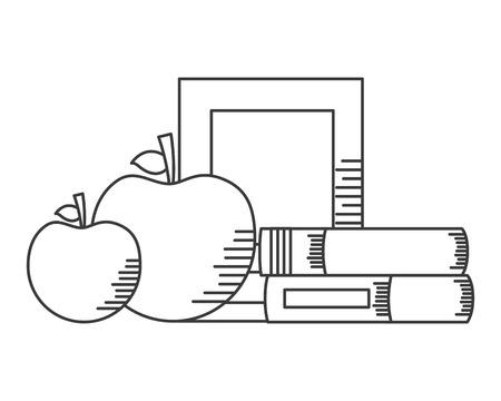 books apples school supplies vector illustration design