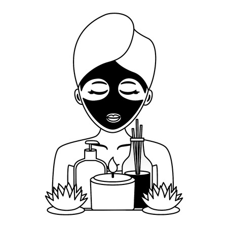 woman herbal mask with towel spa vector illustration