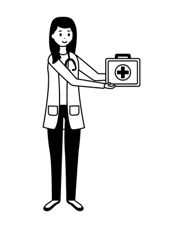 medical woman professional staff with uniform vector illustration 일러스트