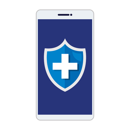 smartphone with medical cross in shield vector illustration design