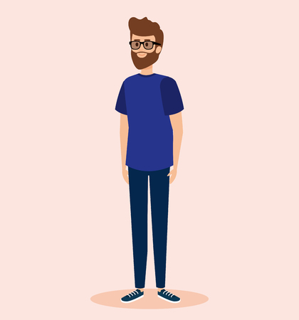 happy man wearing glasses with casual clothes vector illustration