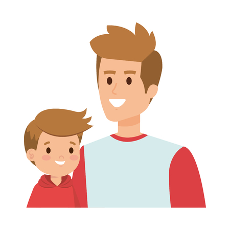 young father with son characters vector illustration design Illustration