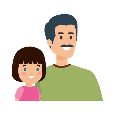 Vater mit Tochterzeichen-Vektor-Illustrationsdesign Vektorgrafik