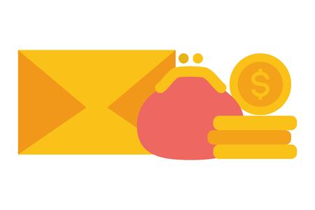 mail coins money purse online payment vector illustration