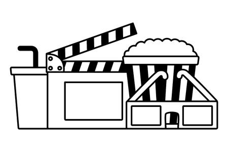 3d glasses clapboard pop corn soda cinema movie vector illustration Illustration