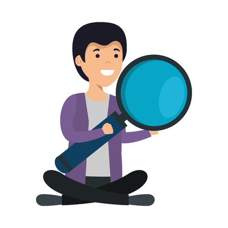 young man in lotus position with magnifying glass vector illustration design