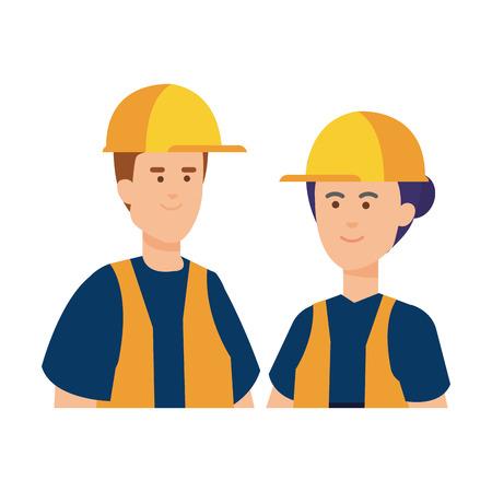 couple builders workers with helmets vector illustration design Vetores