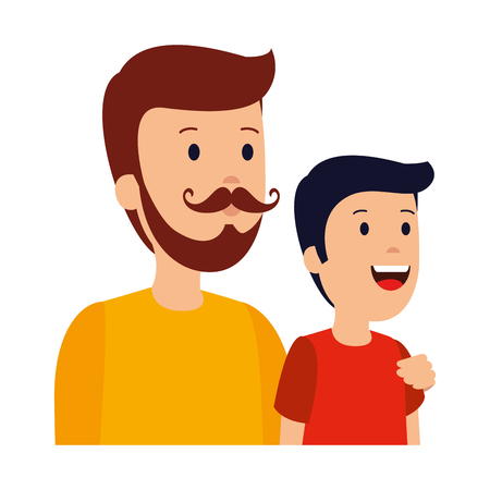 young father with son characters vector illustration design Ilustrace