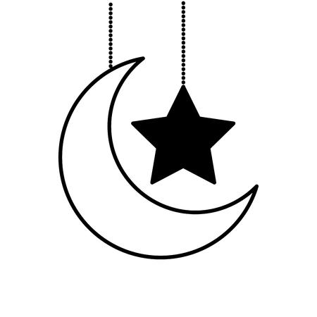 hanging decorative moon star ornate vector illustration