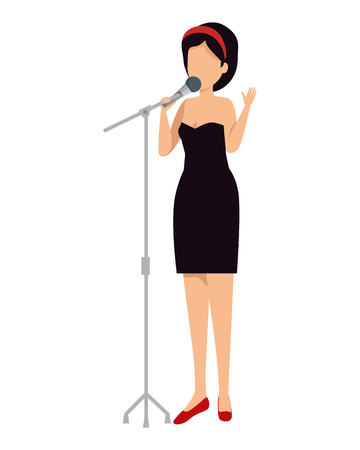 woman singing with microphone vector illustration design Иллюстрация