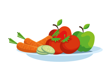 dish with vegetables and fruits salad vector illustration design