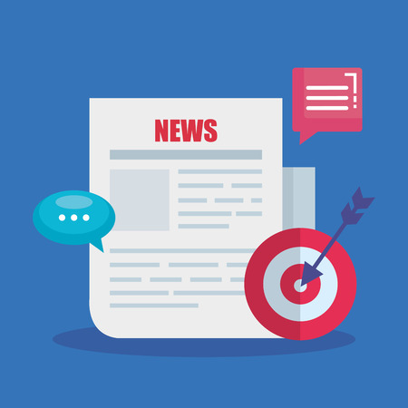 news document information with chat bubbles and target vector illustration Banque d'images - 123462774