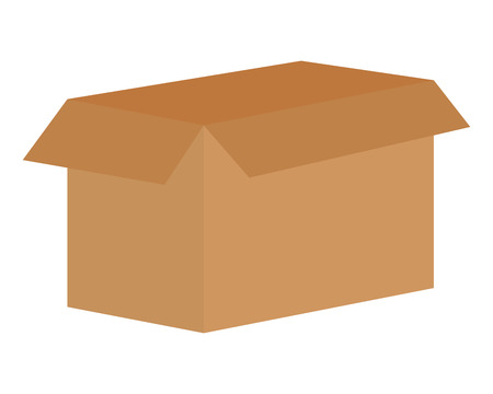 open cardboard box carton on white background vector illustration