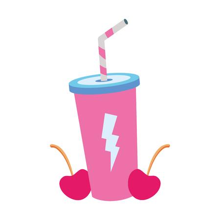 soda and cherries pop art elements vector illustration Illustration