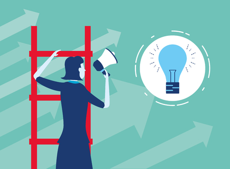 businesswoman ladders speaker creativity business success vector illustration