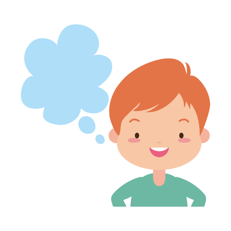 school boy speech bubble white background vector illustration