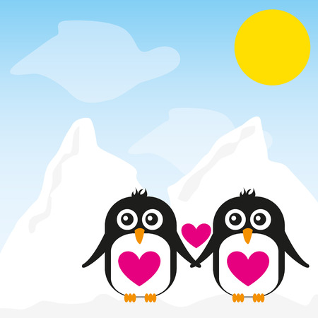 penguin cartoon over snow landscape background. vector  イラスト・ベクター素材