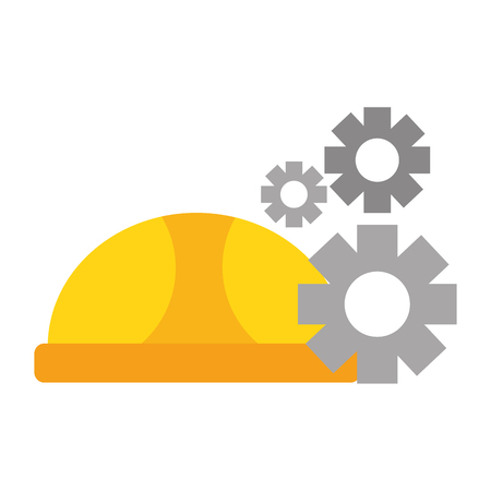 hardhat and gears labour day vector illustration