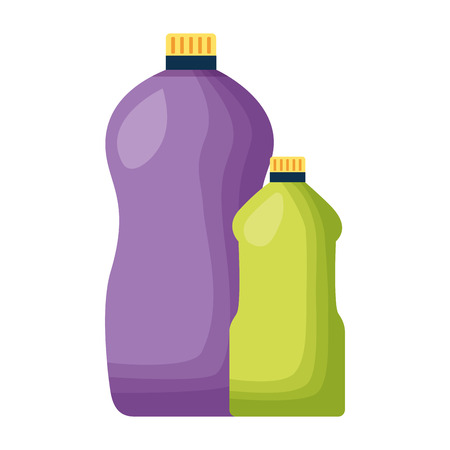 detergent bottles tool cleaning on white background vector illustration Stock Illustratie