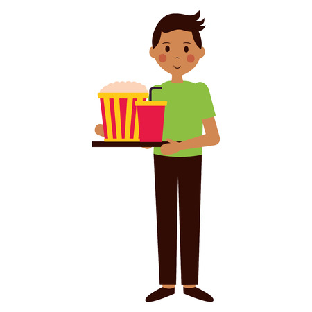man with pop corn and soda film movie vector illustration