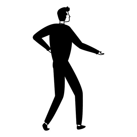 back view business man on white background vector illustration