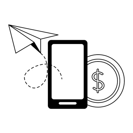smartphone business success money paper plane vector illustration