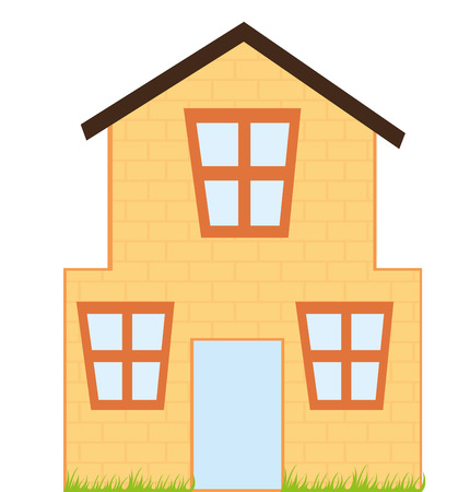 orange house cartoon with grass isolated over white background. vector