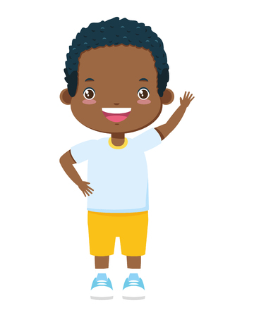 szczęśliwy chłopiec macha ręką na białym tle ilustracji wektorowych