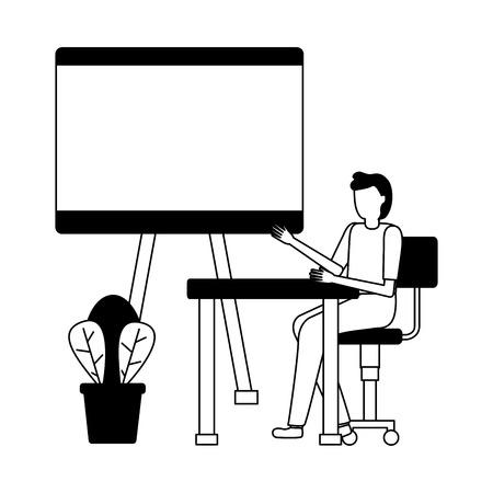 man working office board and desk vector illustration Standard-Bild - 123940330