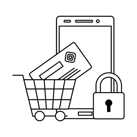 smartphone online payment cart bank card security vector illustration