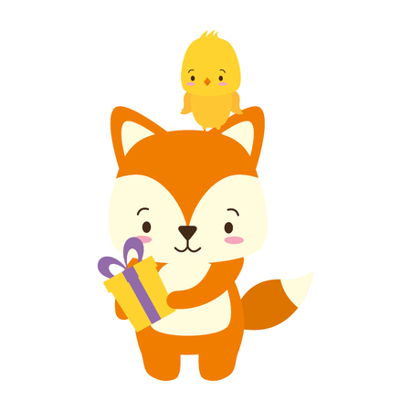 cute fox and chicken with gift cartoon vector illustration