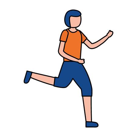 young man training sport activity vector illustration Archivio Fotografico - 123940457